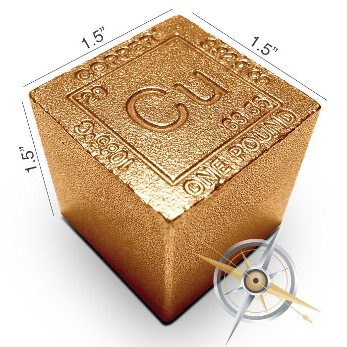 Elemental 1 lb Copper Cube | Czar Metals