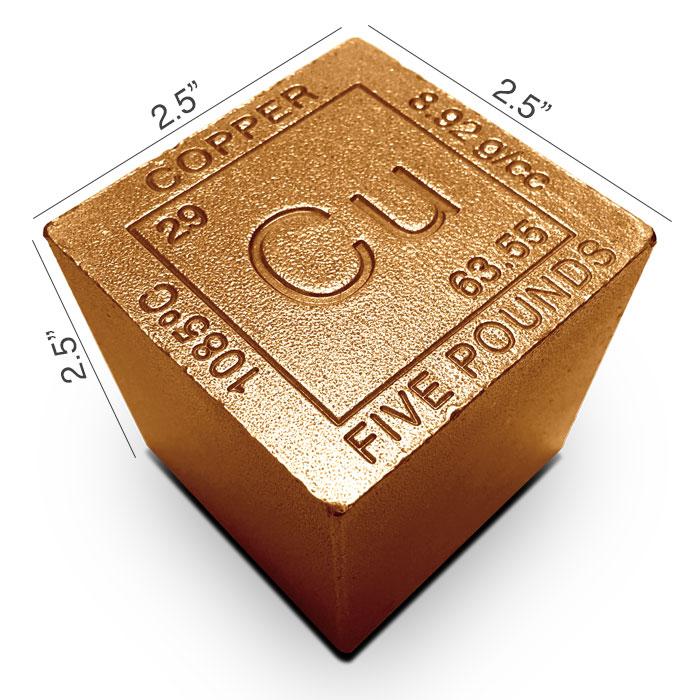Elemental 5 lb Copper Cube | Czar Metals