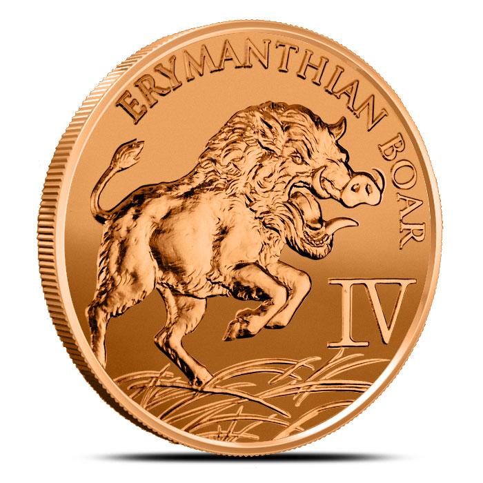 1 oz Copper Erymanthian Boar | The 12 Labors of Hercules