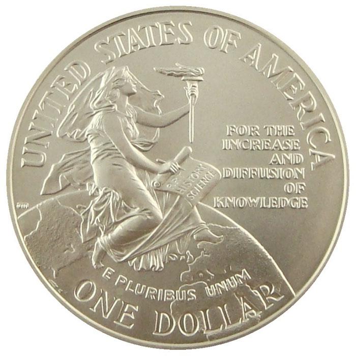 1996 D Smithsonian 150th Anniversary BU Commemerative Silver Dollar Coin Obverse