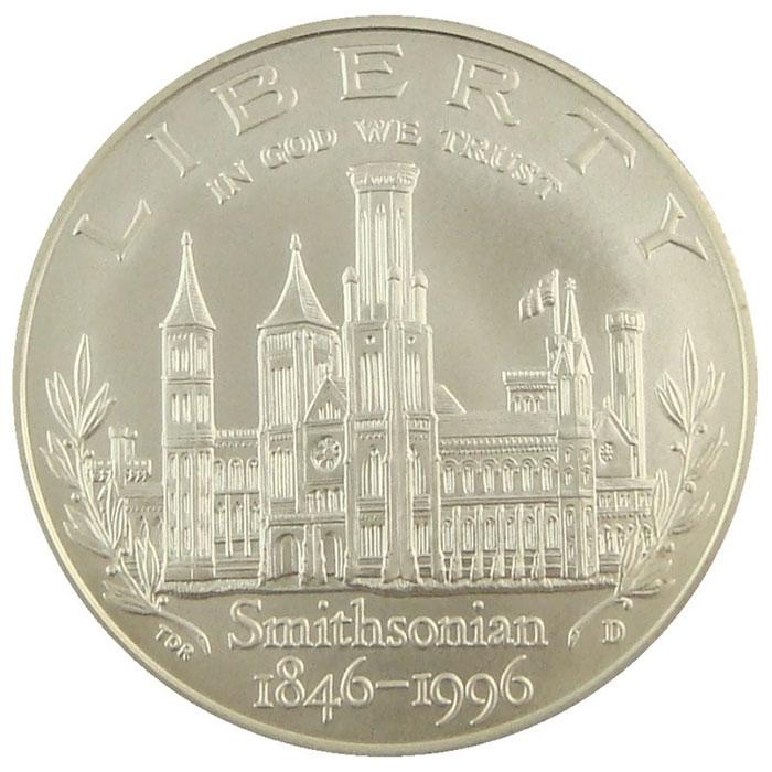 1996 D Smithsonian 150th Anniversary Commemerative BU Silver Dollar Coin Reverse