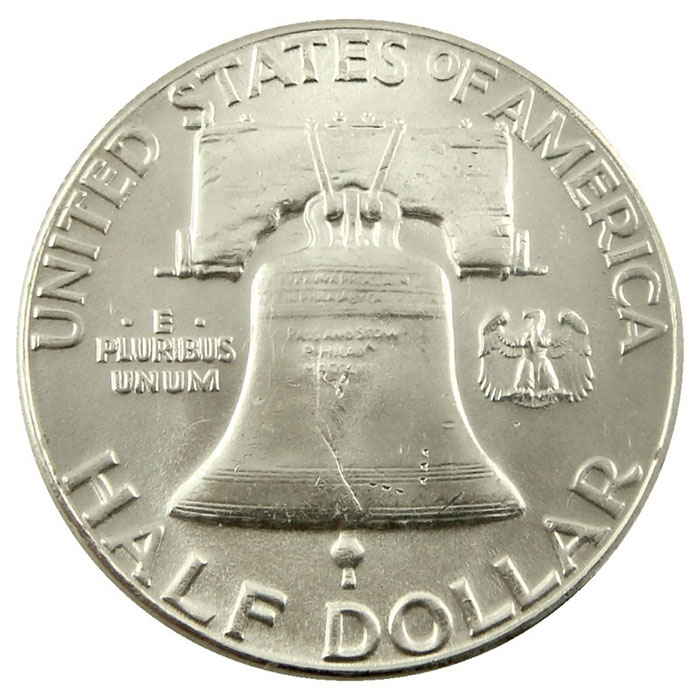 1958 P Franklin Half Dollar Coin Reverse