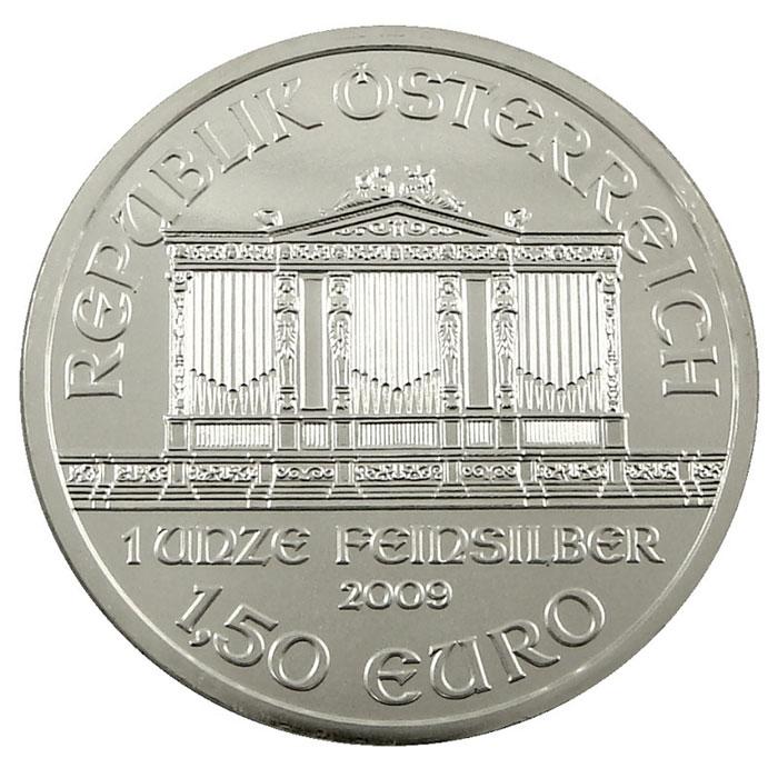 BU 2009 1 oz Silver Austrian Philharmonic Coin Obverse