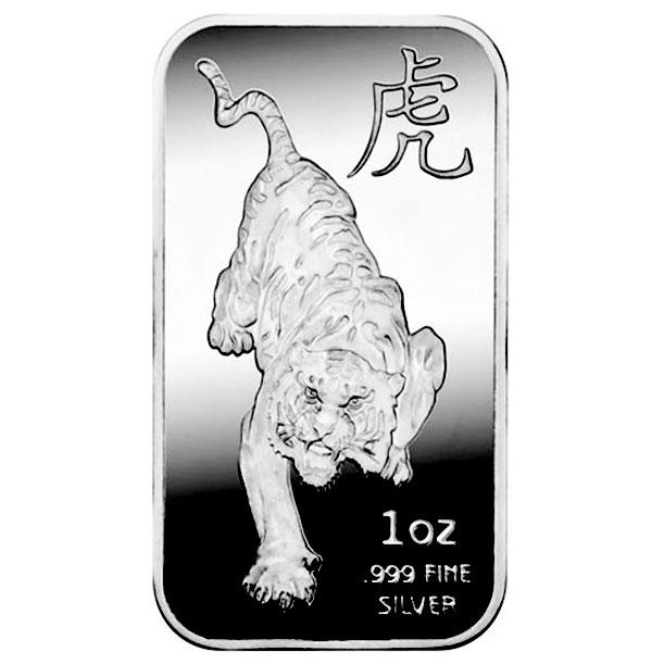 Year of the Tiger 1 oz .999 Fine Silver Bar   Sunshine Mint-0
