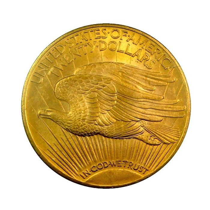 $20 Saint Gaudens NGC MS62 Gold Double Eagle Coin Reverse
