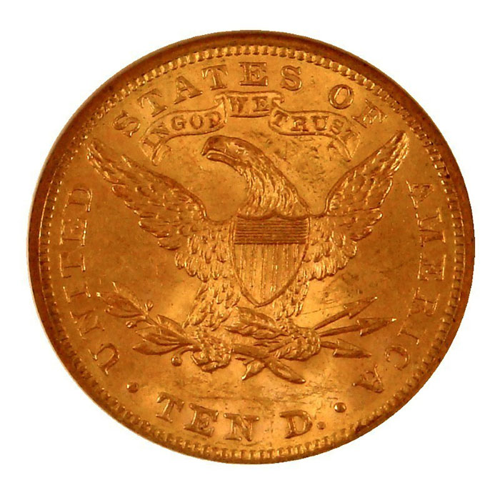 $10 Liberty NGC MS62 Gold Eagle Coin Reverse