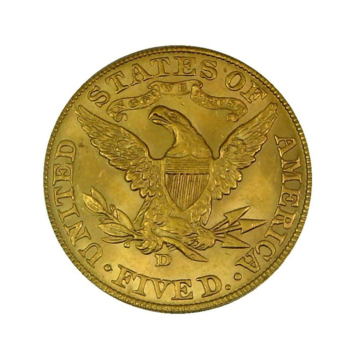 $5 Liberty PCGS MS63 Gold Half Eagle Coin Reverse