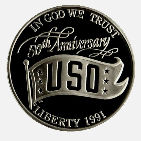 1991 S USO 50th Anniversary Commemorative Proof Silver Dollar Coin Obverse