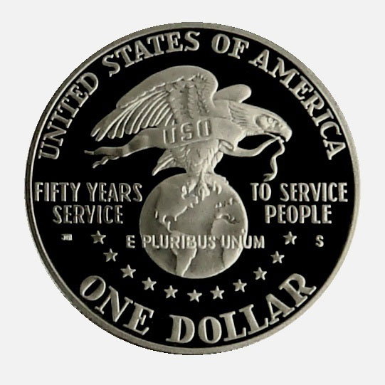 1991 S USO 50th Anniversary Commemorative Proof Silver Dollar Coin Reverse