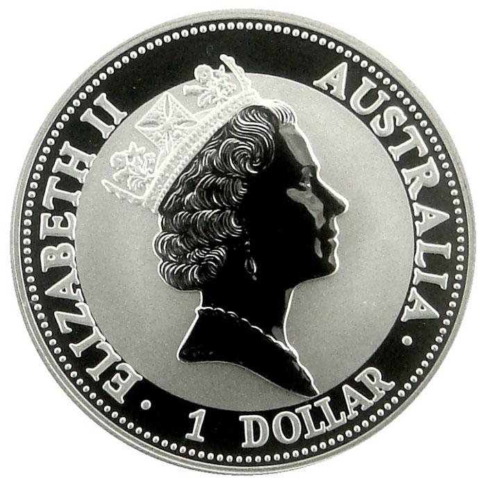 1998 Australian 1 Oz. Silver Kookaburra Coin Obverse