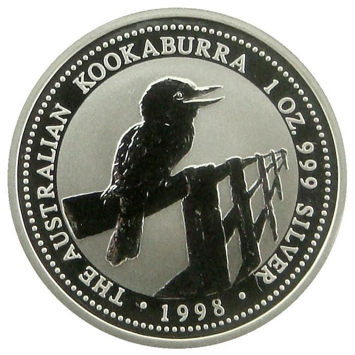 1998 Australian 1 Oz. Silver Kookaburra Coin Reverse
