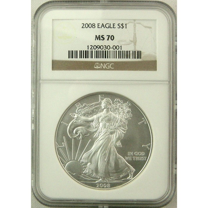 NGC MS 70 2008 American Silver Eagle Coin Obverse