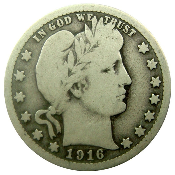 $1 Face Value VG+ Barber Quarters 90% Coin Obverse