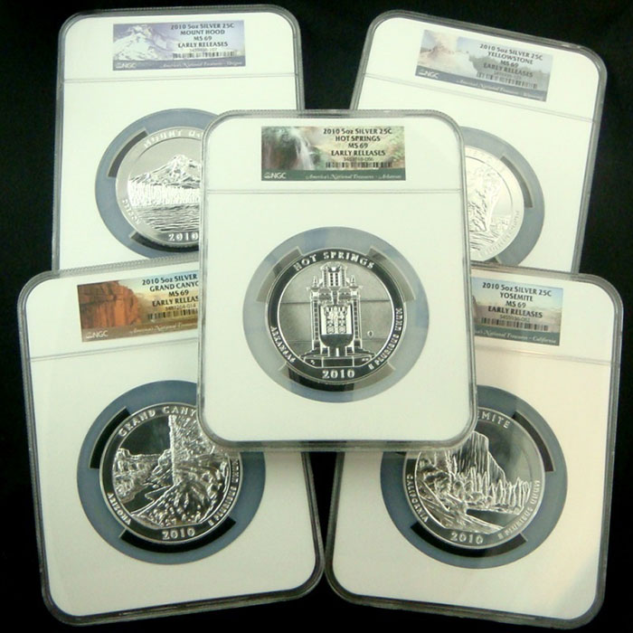 NGC MS69 Early Release 2010 ATB 5 oz Silver 5 Coin Set