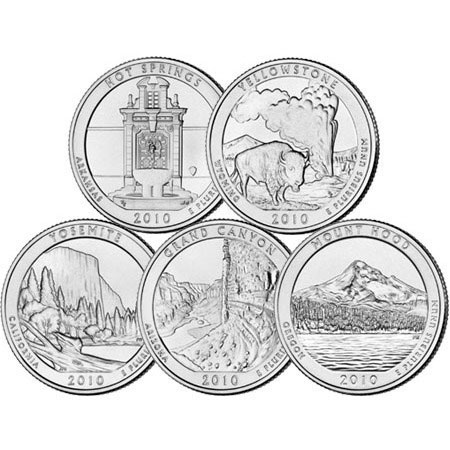 2010 5 oz Silver America the Beautiful 5 Coin Set