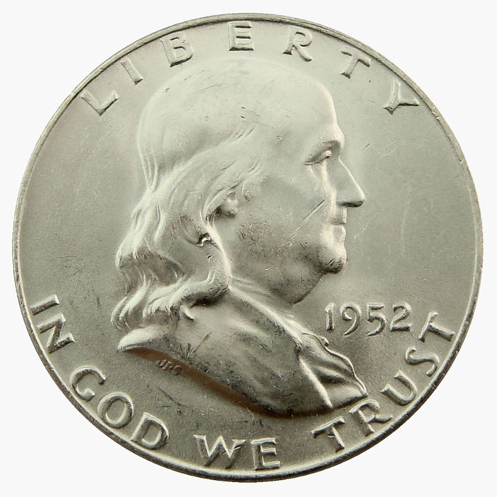 Uncirculated 1952 D Franklin Half Dollar Coin Obverse