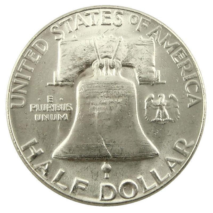 Uncirculated 1951 P Franklin Half Dollar Coin Reverse