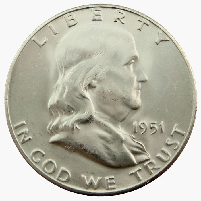 Uncirculated 1951 D Franklin Half Dollar Coin Obverse