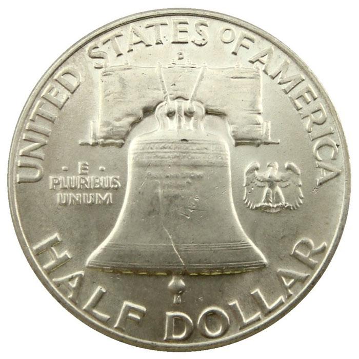 Uncirculated 1950 D Franklin Half Dollar Coin Reverse