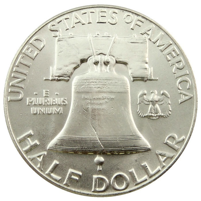 Uncirculated 1950 P Franklin Half Dollar Coin Reverse