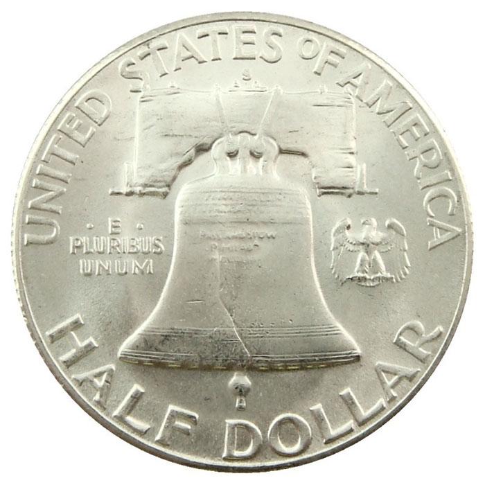 Uncirculated 1949 S Franklin Half Dollar Coin Reverse