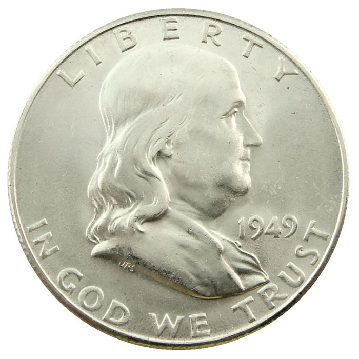 Uncirculated 1949 D Franklin Half Dollar Coin Obverse