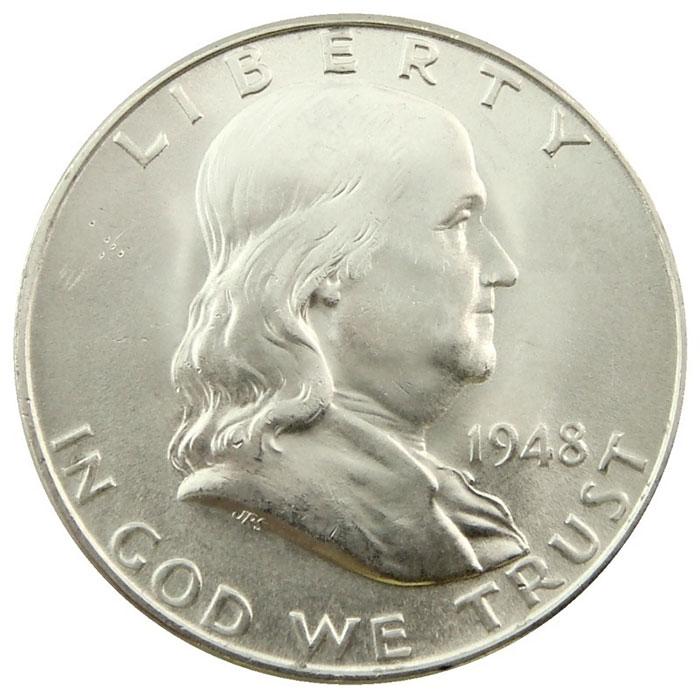 Uncirculated 1948 D Franklin Half Dollar Coin Obverse