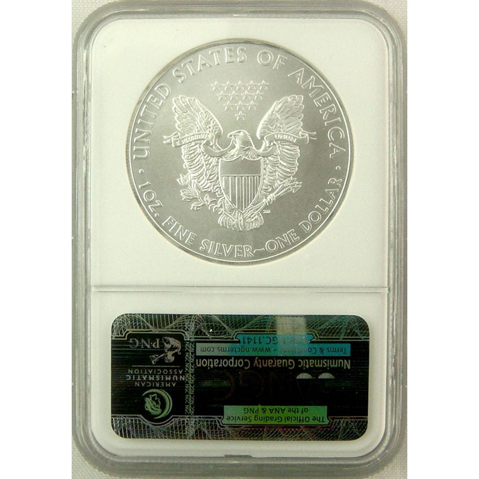NGC MS 70 2008 American Silver Eagle Coin Reverse