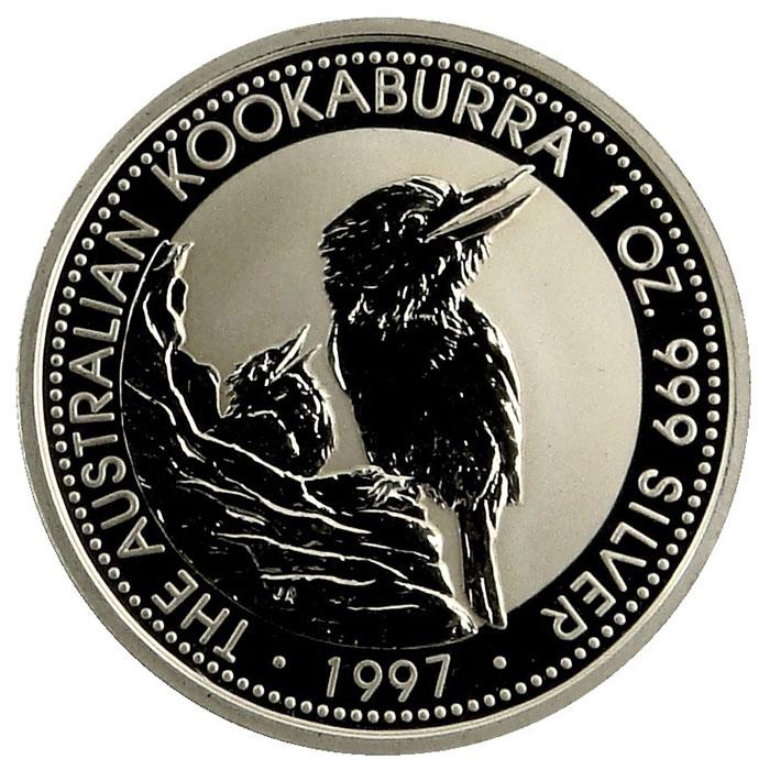 1997 Australian 1 Oz. Silver Kookaburra Coin Reverse