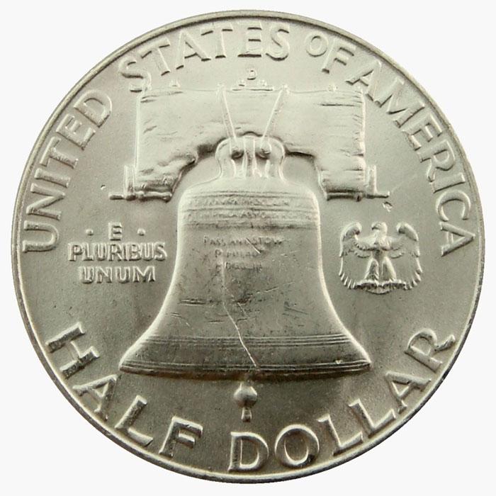 Uncirculated 1952 D Franklin Half Dollar Coin Reverse