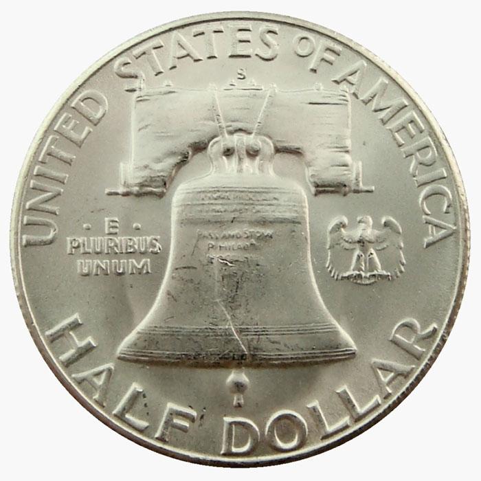 Uncirculated 1951 S Franklin Half Dollar Coin Reverse