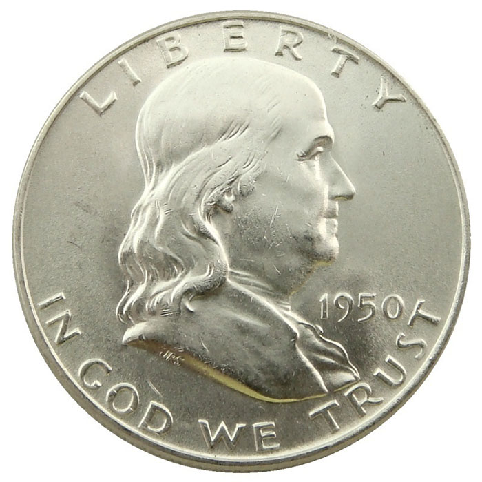 Uncirculated 1950 D Franklin Half Dollar Coin Obverse