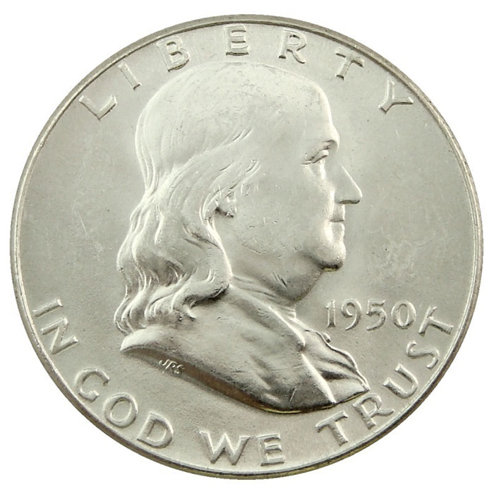 Uncirculated 1950 P Franklin Half Dollar Coin Obverse