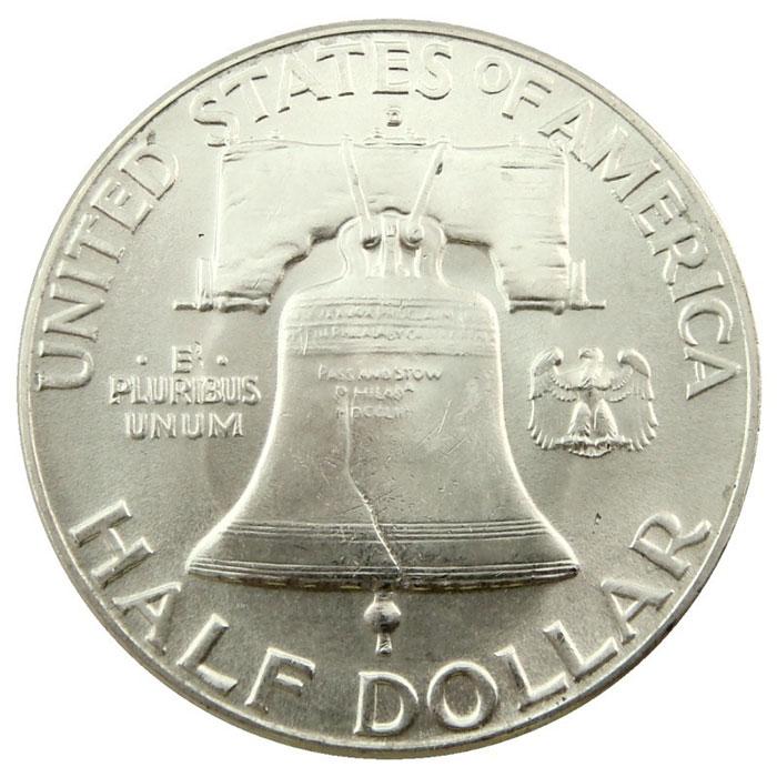 Uncirculated 1948 D Franklin Half Dollar Coin Reverse