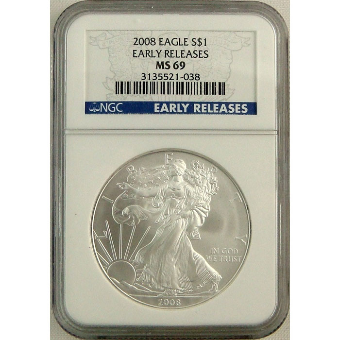 2008 Silver Eagle | Early Release | NGC MS69-0