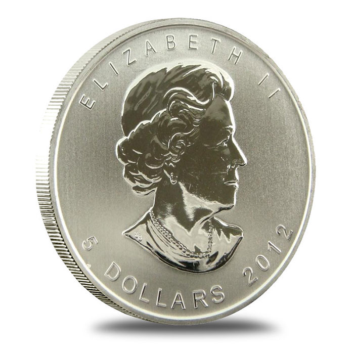 2012 1 oz Canadian Silver Maple Leaf Coin Obverse
