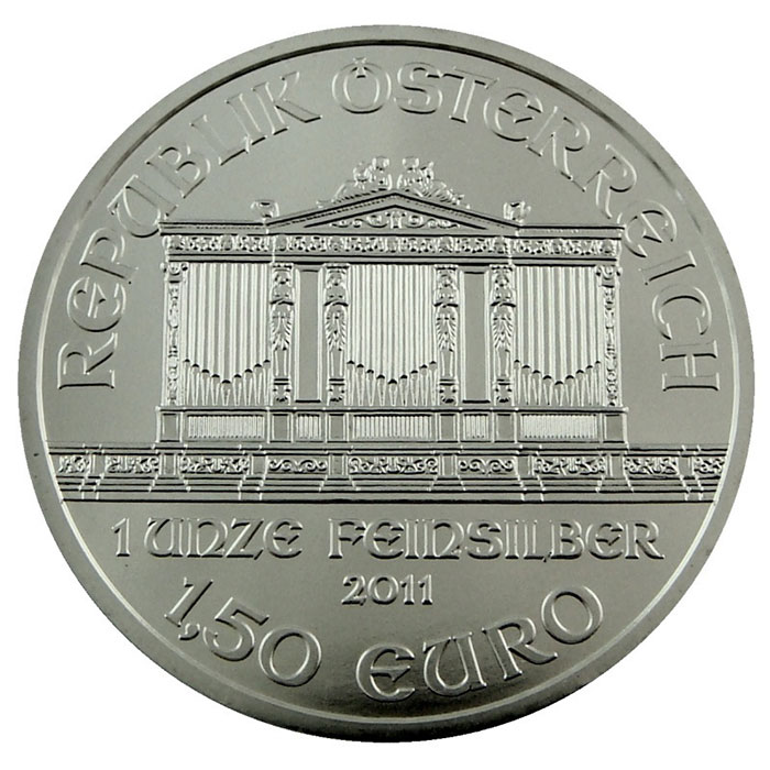 2011 1 oz BU Silver Austrian Philharmonic Coin Obverse