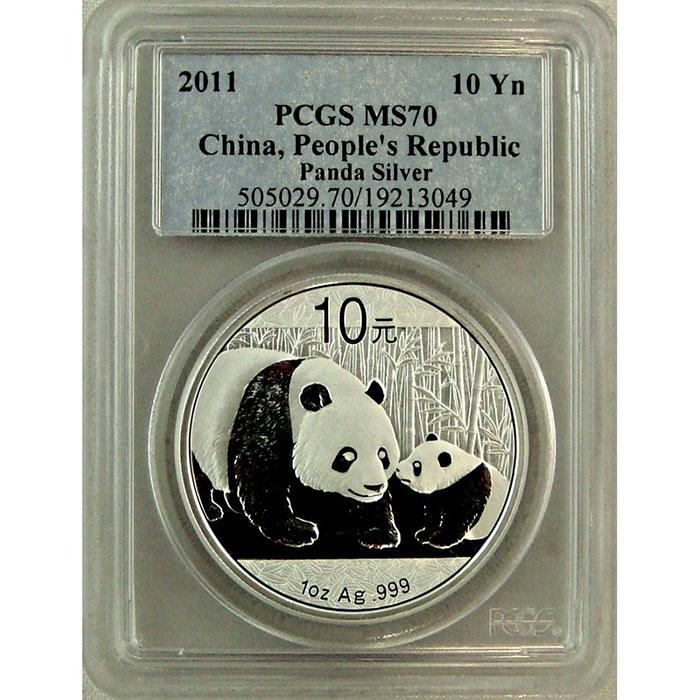 2011 1 oz Chinese Silver Panda | PCGS MS70-0