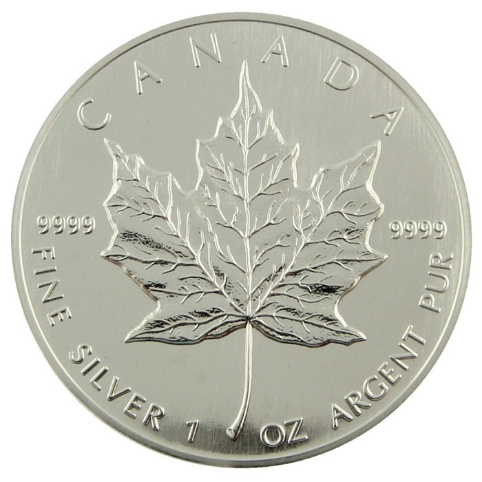 1990 1 oz Canadian Silver Maple Leaf Coin Reverse