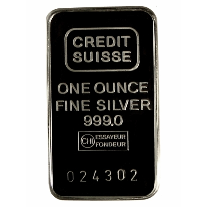 Credit Suisse 1 Ounce Silver Bar Front