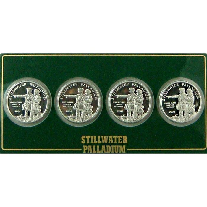 4- 1/4 oz Johnson Matthey Stillwater Palladium | Lewis & Clark Rounds-0