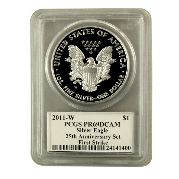 Mercanti Signed PCGS First Strike MS/PR-69 2011- 25th Anniversary Silver Eagle Proof Bullion Coin Reverse