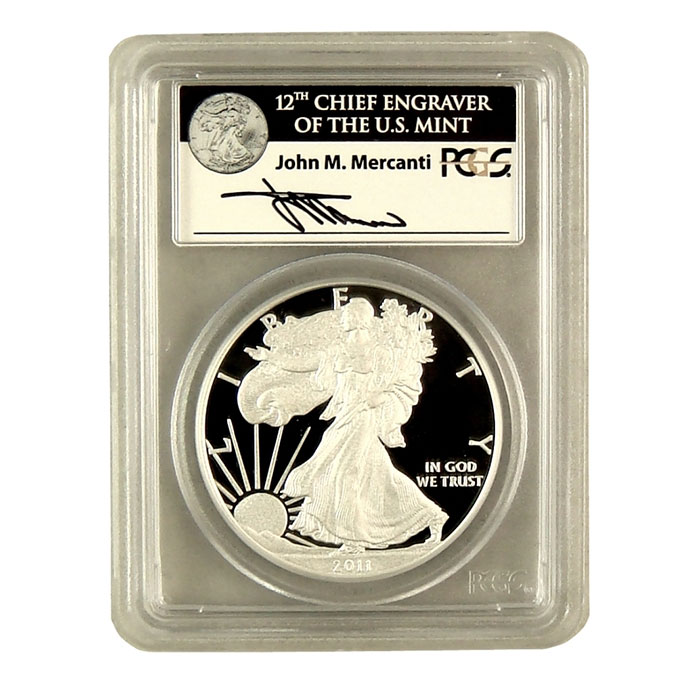 Mercanti Signed PCGS First Strike MS/PR-70 2011- 25th Anniversary Silver Eagle Proof Bullion Coin Obverse