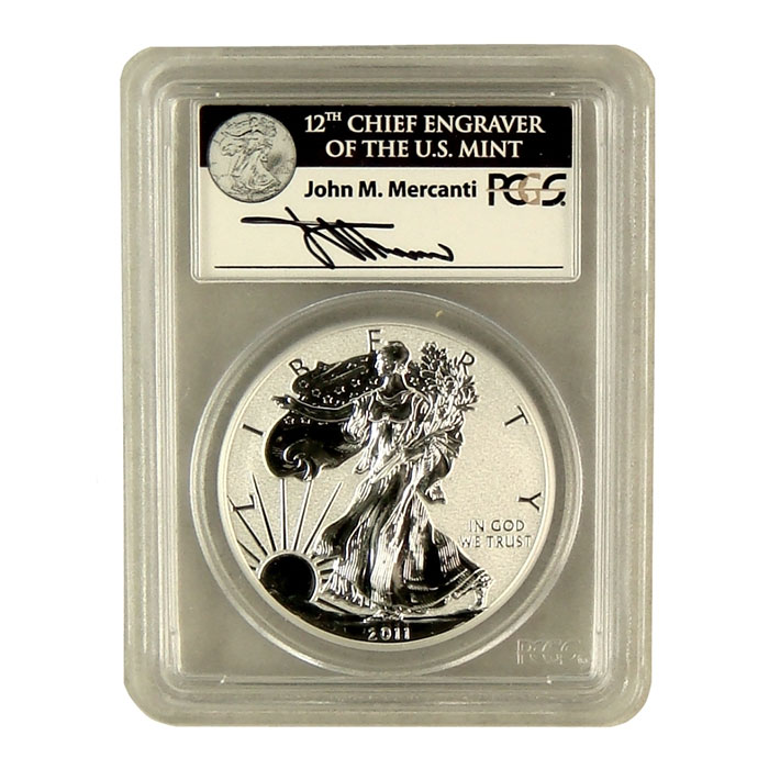 Mercanti Signed PCGS First Strike MS/PR-69 2011- 25th Anniversary Silver Eagle Reverse Proof Bullion Coin Obverse