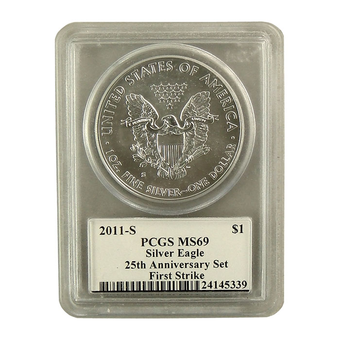 2011-S 25th Anniversary Silver Eagle PCGS First Strike MS-69 | Mercanti Signed Black Label-6789