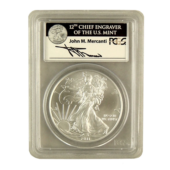 Mercanti Signed PCGS First Strike MS/PR-70 2011- 25th Anniversary Silver Eagle S Bullion Coin Obverse