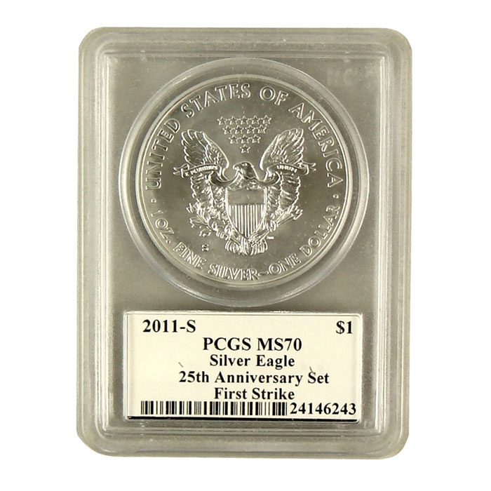 2011-S 25th Anniversary Silver Eagle PCGS First Strike MS-70 | Mercanti Signed Black Label-6764
