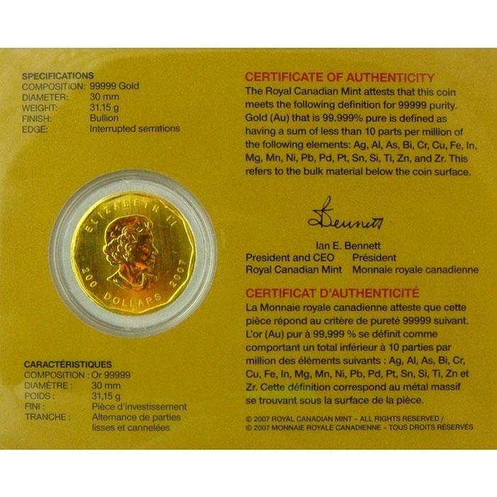 2007 1 oz .99999 Canadian Gold Maple Leaf -5564