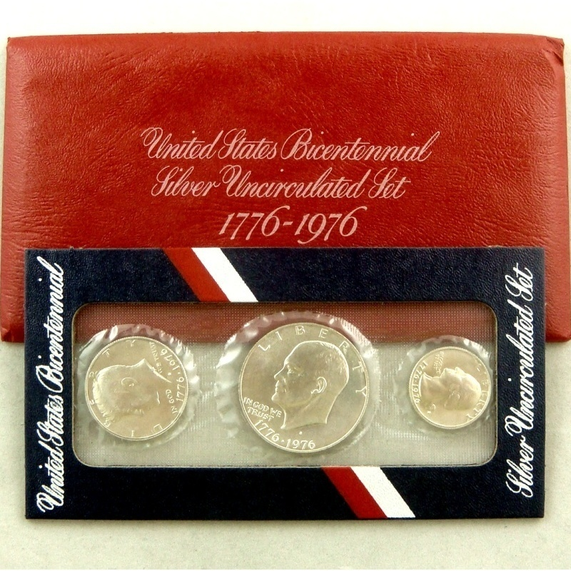 1976 Red 3 Piece Silver Bicentennial Uncirculated Set