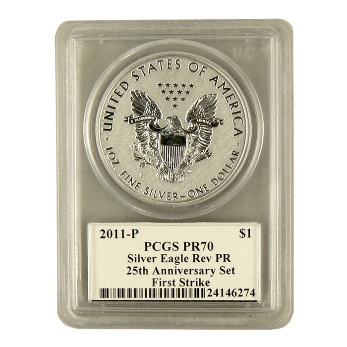 Mercanti Signed PCGS First Strike MS/PR-70 2011- 25th Anniversary Silver Eagle Reverse Proof Bullion Coin Reverse